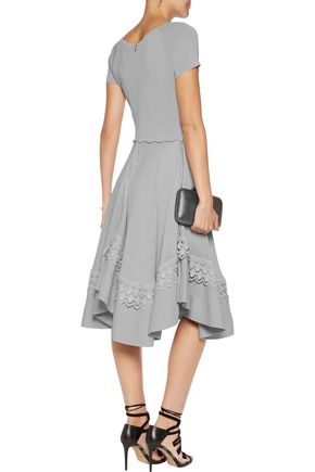 ANTONIO BERARDI Macramé lace-trimmed stretch-knit dress