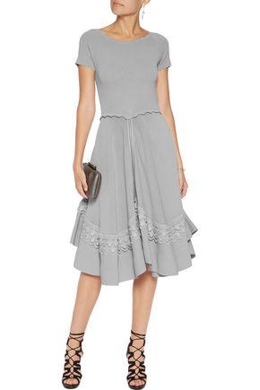 ANTONIO BERARDI Macramé lace-trimmed crepe dress