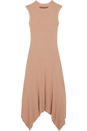 ENZA COSTA Asymmetric ribbed jersey midi dress