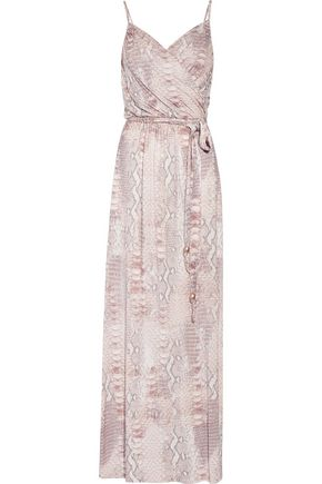 MELISSA ODABASH Zoe wrap-effect snake-print stretch-jersey maxi dress