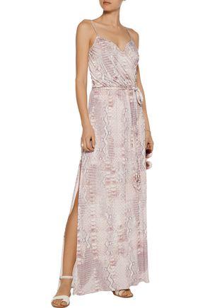 MELISSA ODABASH Zoe wrap-effect snake-print stretch-jersey maxi dress