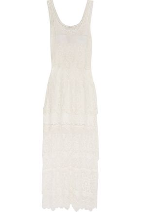 HAUTE HIPPIE Crochet-paneled cotton maxi dress