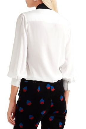 ALICE + OLIVIA Treena pussy-bow silk-blend blouse