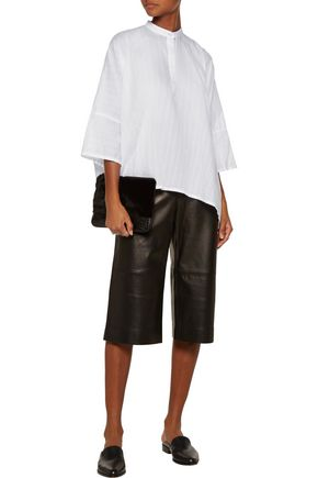 HELMUT LANG Oversized textured cotton and silk-blend blouse
