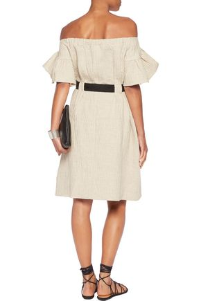 GOEN.J Off-the-shoulder crinkled cotton and linen-blend dress