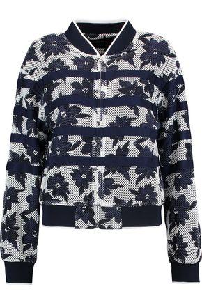 GOEN.J Grosgrain-paneled floral-print mesh jacket