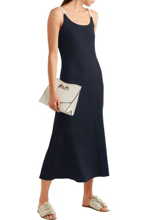 MOTHER OF PEARL Lutie embellished ribbed wool-blend maxi dress
