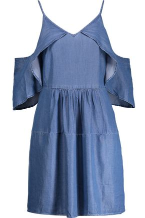 W118 by WALTER BAKER Maxwell cold-shoulder chambray mini dress