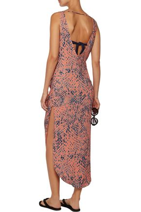VIX Kristin wrap-effect printed voile midi dress