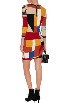 ALICE + OLIVIA Hayden patchwork knitted mini dress