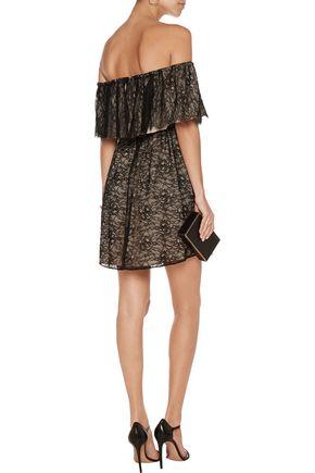 ALICE + OLIVIA Suzy off-the-shoulder corded lace mini dress
