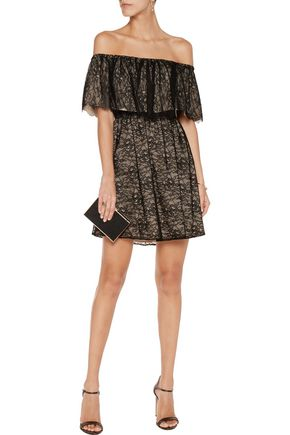 ALICE + OLIVIA Suzy off-the-shoulder corded lace mini dress