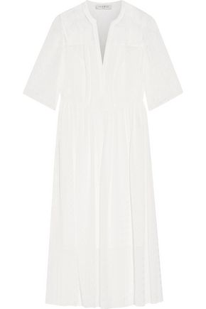 SANDRO Romance lace-paneled gingham crepe de chine midi dress
