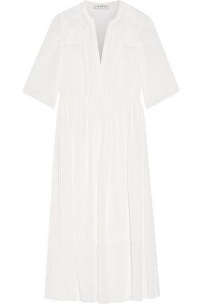 SANDRO Paris Romance lace-paneled gingham crepe de chine midi dress