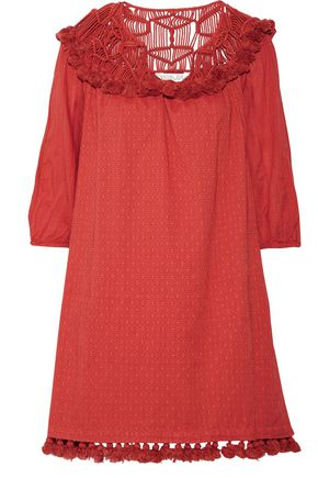 RACHEL ZOE Paneled macramé, fil coupé cotton and broadcloth mini dress ...