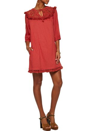 RACHEL ZOE Paneled macramé, fil coupé cotton and broadcloth mini dress