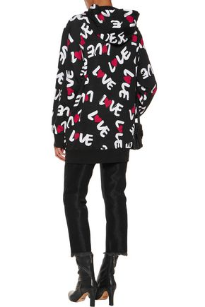 LOVE MOSCHINO Hooded printed cotton-blend jersey jacket