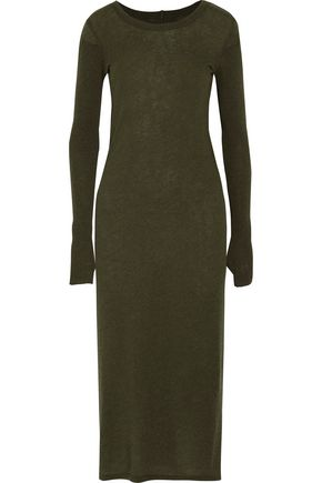 ENZA COSTA Ribbed-paneled cotton and cashmere-blend midi dress