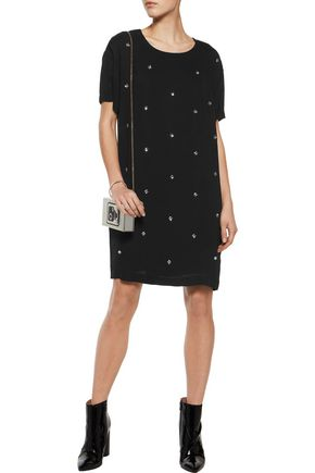 LOVE MOSCHINO Crystal-embellished crepe dress