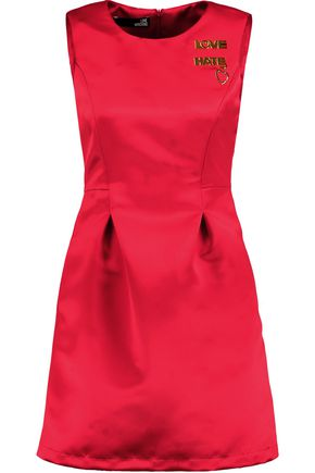 LOVE MOSCHINO Embellished satin mini dress