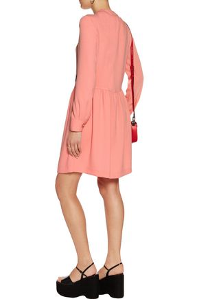 LOVE MOSCHINO Pintucked embroidered crepe dress