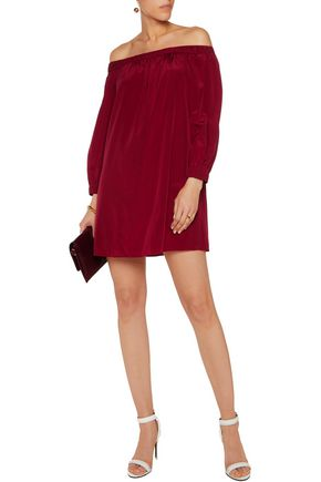 ALICE + OLIVIA Desiree off-the-shoulder silk-blend mini dress