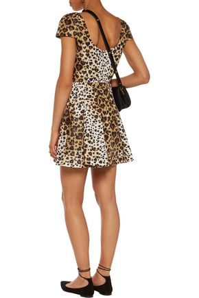 REDValentino Leopard-print coated-twill mini dress