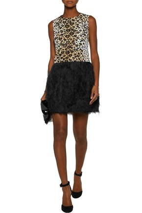 REDValentino Leopard-print satin and faux feather-embellished crepe mini dress
