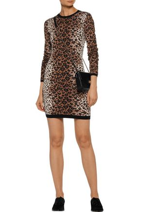REDValentino Leopard-print wool-blend mini dress