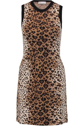 REDValentino Leopard jacquard-knit wool, cotton and silk-blend mini dress
