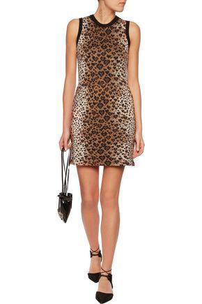 REDValentino Leopard jacquard-knit wool, cotton and silk-blend mini dress