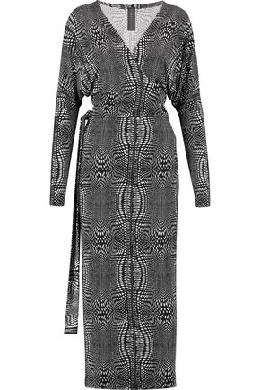 NORMA KAMALI Dolman printed stretch-jersey wrap dress