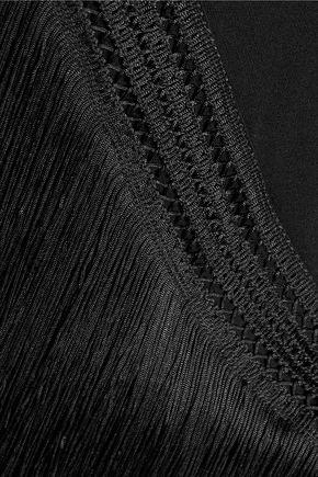 HAUTE HIPPIE Fringed crochet knit-trimmed stretch-jersey maxi dress