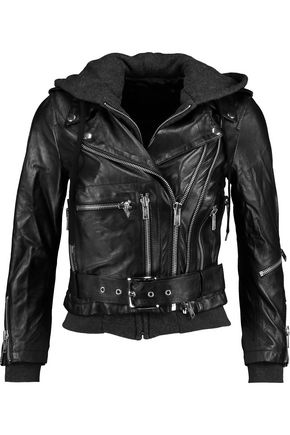R13 Moto hooded Leather Jacket