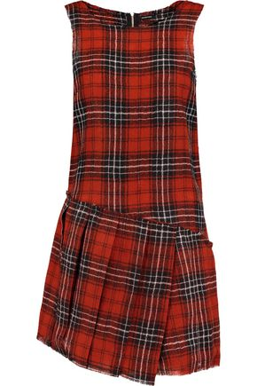 R13 Frayed checked wool mini dress