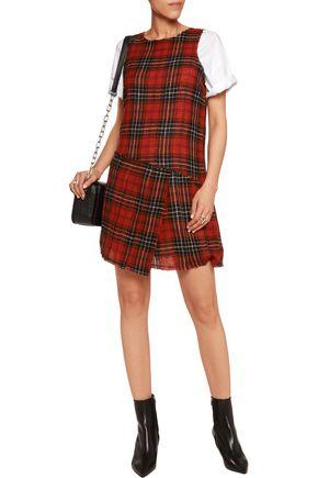 R13 Frayed checked wool mini dress