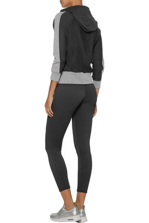 BODYISM Thalia paneled mesh and marled stretch-jersey hooded top