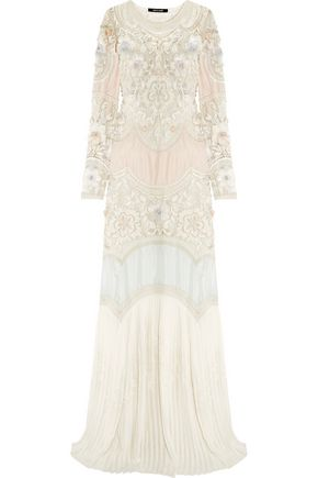 ROBERTO CAVALLI Embellished paneled silk-blend gown