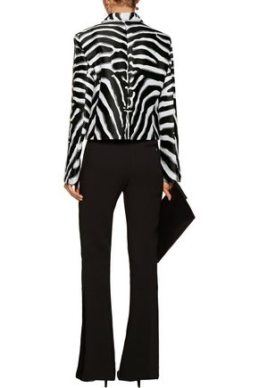 ROBERTO CAVALLI Zebra-print silk-blend satin-twill and bouclé blazer