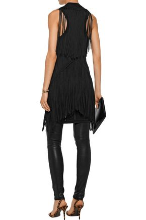 ROBERTO CAVALLI Fringed paneled pointelle and stretch-knit vest