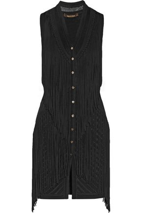 ROBERTO CAVALLI Fringed paneled pointelle and stretch-knit vest ...