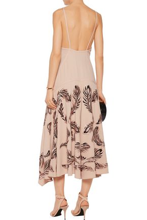 ROBERTO CAVALLI Embroidered crepe and tulle midi dress