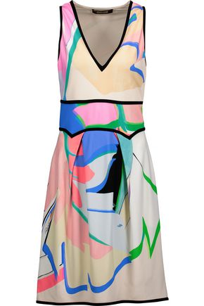 ROBERTO CAVALLI Printed stretch-crepe mini dress