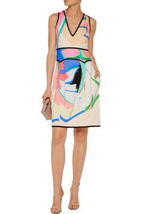 ROBERTO CAVALLI Printed stretch-crepe mini dress