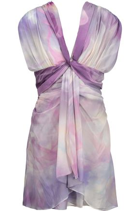 ROBERTO CAVALLI Gathered printed silk-chiffon mini dress