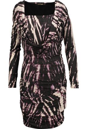 ROBERTO CAVALLI Draped printed stretch-jersey mini dress