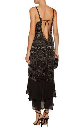 ROBERTO CAVALLI Layered beaded silk-chiffon dress