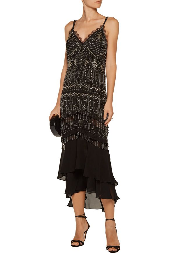 Layered beaded silk-chiffon dress | ROBERTO CAVALLI | Sale up to 70% off |  THE OUTNET