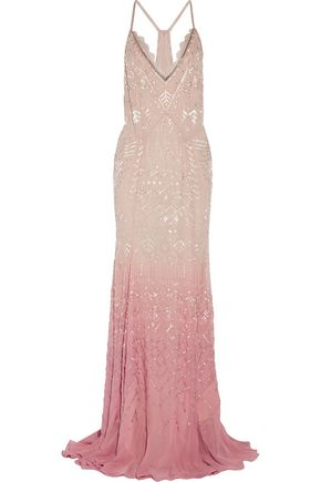 ROBERTO CAVALLI Dégradé beaded silk-chiffon gown