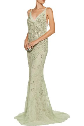 ROBERTO CAVALLI Embellished corded lace gown